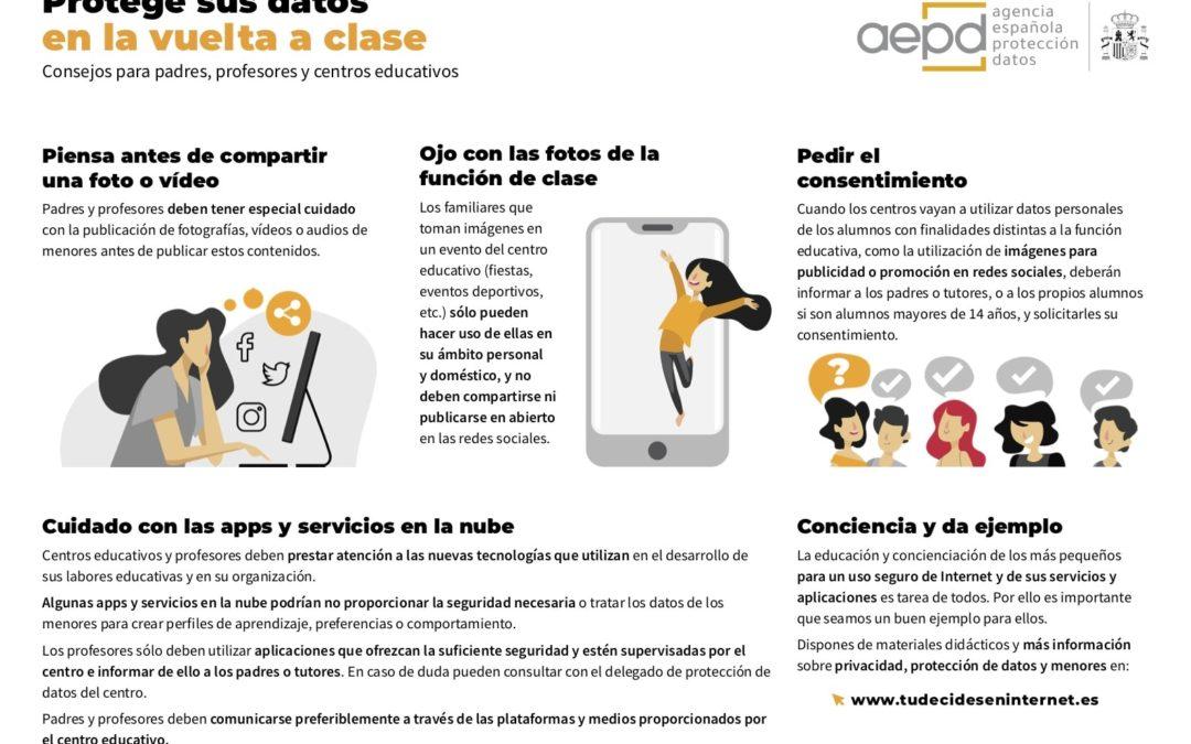 Consejos para la protección de datos en la vuelta a clase (INFOGRAFIA)